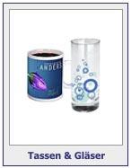 Tassen und Gläser mit Werbeaufdruck